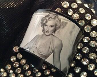 Retro Vinyl Record Cuff Bracelet -  Black and  White Picture of Marilyn Monroe Jewelery Handmade