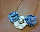 Flower Necklace - Light blue and ivory pearl, women's necklace, gold jewelry