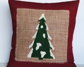 One Christmas tree Pillow cover, 18x18,  holiday pillow, decorative pillow, Christmas decoration