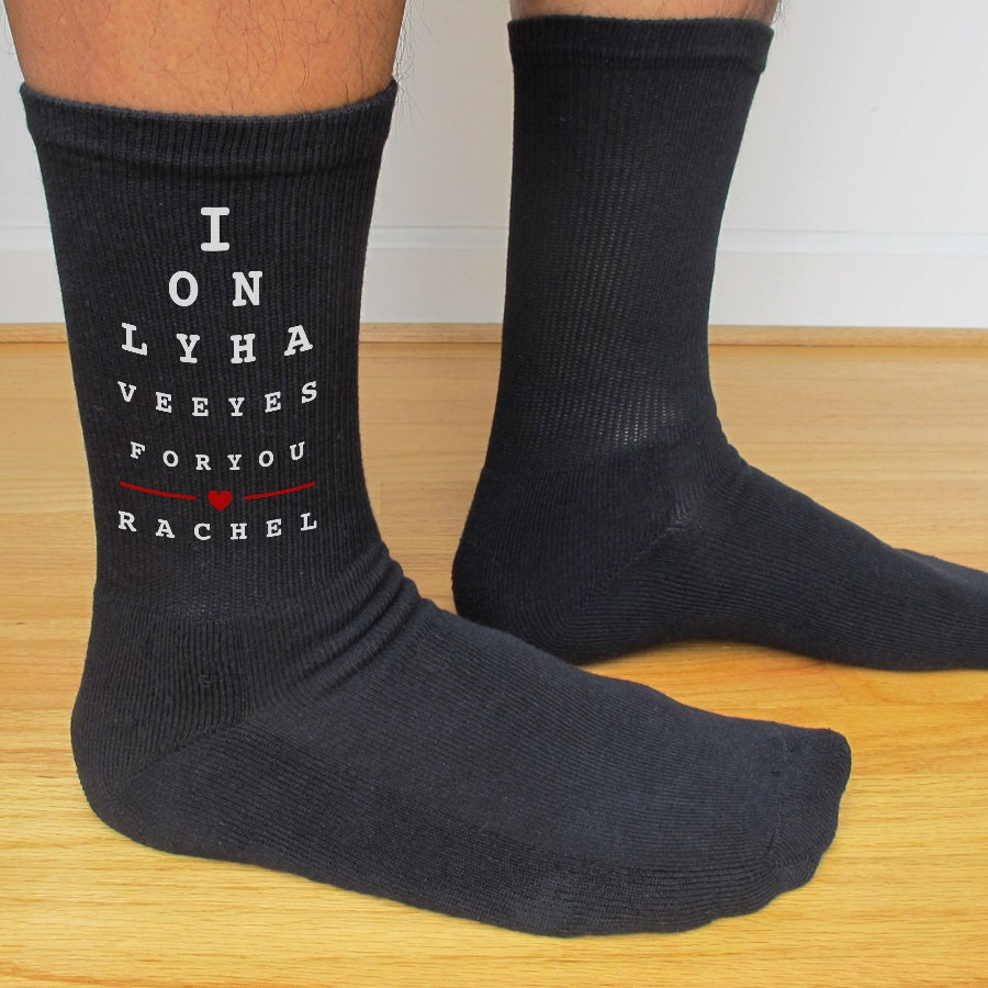I Only Have Eyes For You Custom Printed Mens Socks Wedding