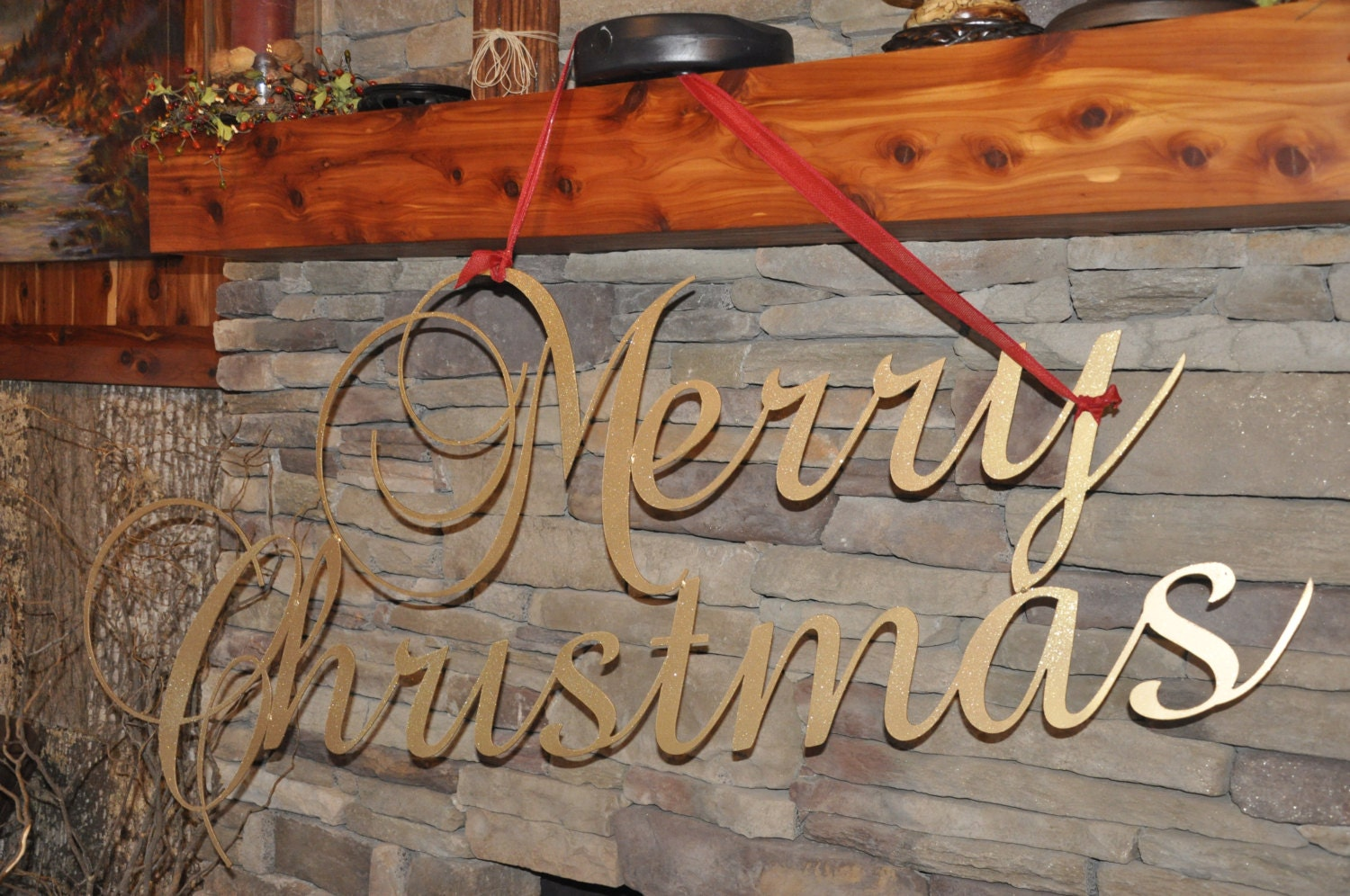Items similar to merry christmas metal sign indoor outdoor