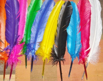 Feather Pen Ballpoint Quill You choose feather and ink color! Geeky awesome Fun! Unique~ Christmas Potter writer wedding secret santa