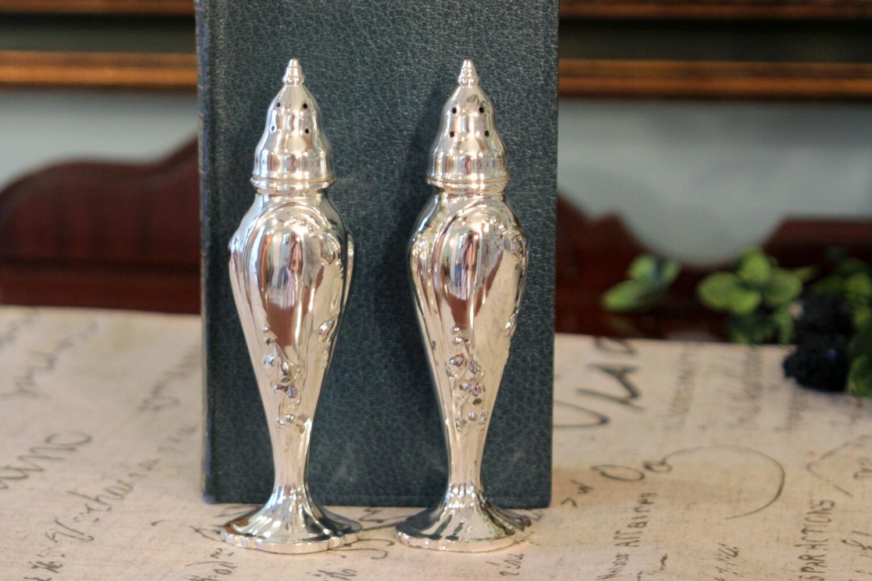 Silver Plate Salt Pepper Shakers Elegant Tall Shaker Set