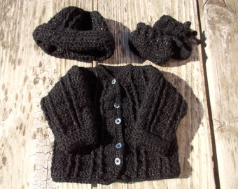 Baby boy sweater baby sweater set handmade baby sweater crochet sweater hat booties baby cardigan sweater set 3 to 9 months black baby sweat