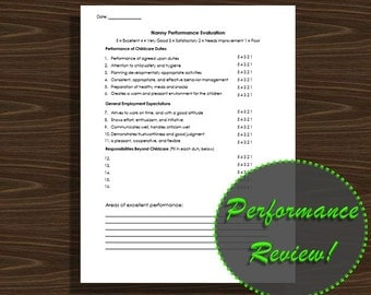Nanny Performance Evaluation Form