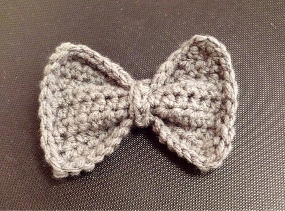 Crochet Hair Gray : ... Crocheted bow tie hair clip bowtie gray yarn half-double crochet