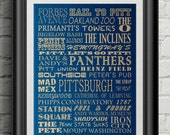 University of Pittsburgh Panthers Subway Scroll Art Print Wall Decor Typography Inspirational Poster Motivational