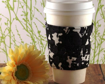 CLEARANCE / Fabric Coffee Cozy / Black, White, and Gray Splotches Coffee Cozy / Coffee Cozy / Tea Cozy