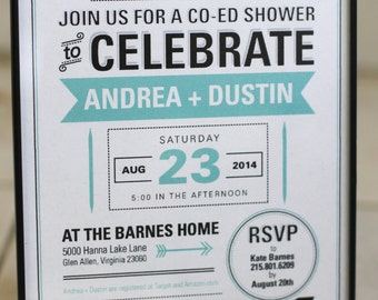 Coed Typographic Wedding Shower Invitation Print at Home