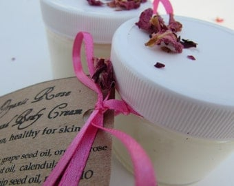 Organic Face and Body Cream, Rose Essential Oil