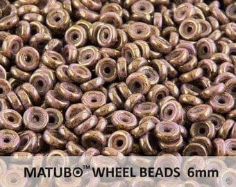 10 g Chalk Violet Senegal Czech Glass Wheel Beads 6 mm (8978)