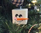 Hand Painted Snowman Cube Wooden Christmas Ornament