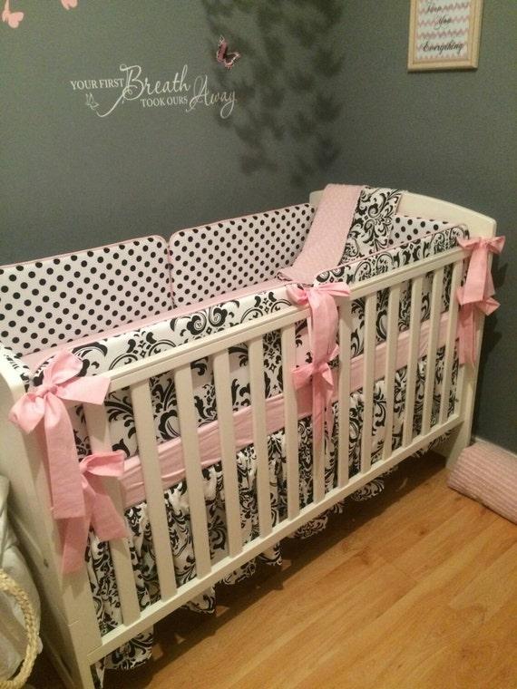 crib bedding pink and black crib bedding by custombebetextiles