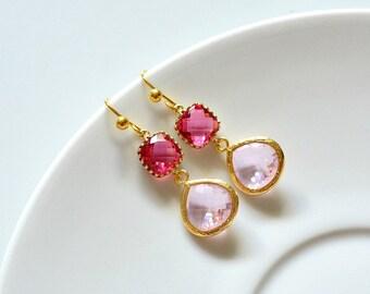 Fuchsia Pink Glass Drop Earrings, Fuchsia Pink Earrings, Bridal Earrings, Bridesmaid Earrings, Wedding Gift, Valentine Gift, Pink Wedding