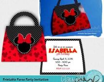 Sweet Bows Inspired Printable Birthday Purse Invitation / Card - 300 DPI