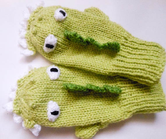 Knitting Pattern Dinosaur Dragon Mittens Animal Mittens Character Mittens Glo...