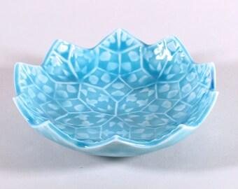 Lotus Flower Ring Dish - Turquoise Blue Ceramic Soap Dish