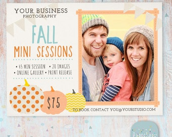 Photography Marketing Board - Fall/Autumn Mini Sessions - Photoshop template - IW009 - INSTANT DOWNLOAD