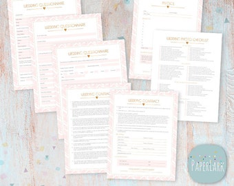 Wedding Photography Questionnaire, Contract and Business Forms Photoshop Template - NG015 - INSTANT DOWNLOAD