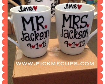 Mr and Mrs Coffee Mug Set-Set of 2- Anniversary- Wedding- Gift- his and hers coffee set- Personalized and Dated