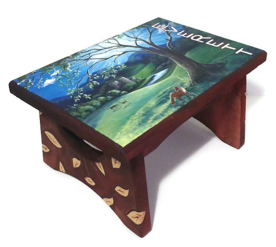 Unique Baby Shower Gift Step Stool Wooden Bench Hand Painted