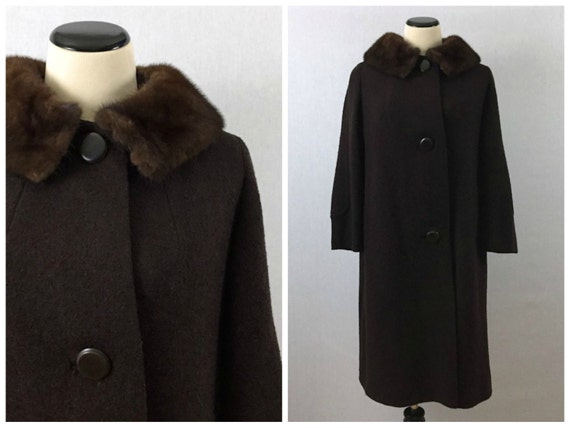 Chocolate Brown Wool Coat - Size Medium 50s Fur Collar Coat - Vintage 1950s Long Brown Coat by Shagmoor