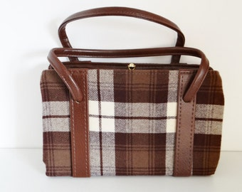 Vintage Handbag Checked Brown and Cream Fabric & Faux Leather Handbag With Elbief Frame - Circa 1960's