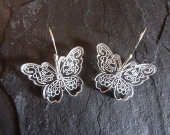 Butterfly Earrings Laser Engraved Hand Made Sterling Silver Ear Wires