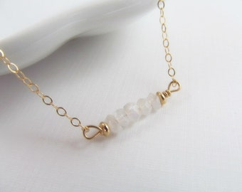 Moonstone Bead Necklace, 14kt Gold Filled Necklace Gift for Her