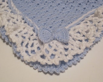 Blue Baby Blanket, Baby Boy, Blue with White Ruffles, Baby Afghan, Baby Shower, Baby Girl, Baby Blanket