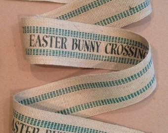 Primitive Easter Bunny Crossing Natural & Green Jute Webbing Rustic Burlap Garland Ribbon 5'