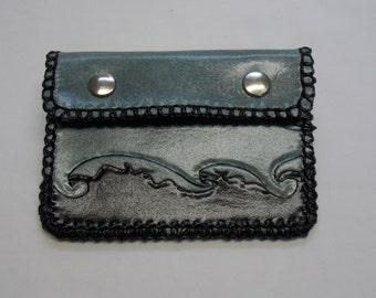 Leather card holder, card holder, wallet, leather wallet, blue card holder, blue wallet
