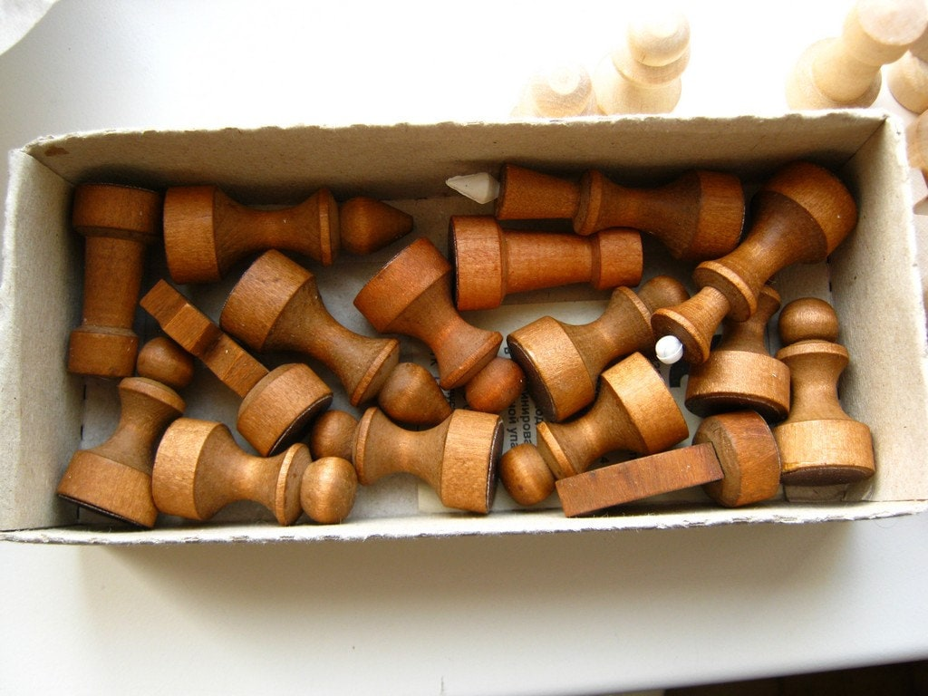 Set of simple wooden chess figures without board unused - Simple chess set ...