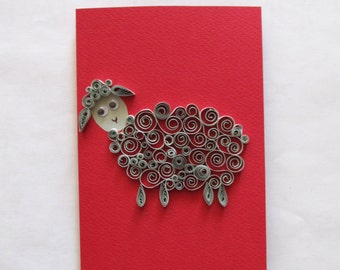 Grey Sheep Card, Quilled Sheep Art, Year of The Sheep Card, Animal Greeting Card, Blank Birthday Card, Funny Card