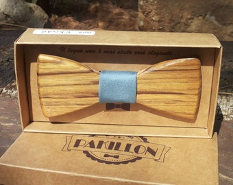 PAKILLON mod. Edgar-wooden with fabric tie knot Bow Tie bowtie fashion hipster
