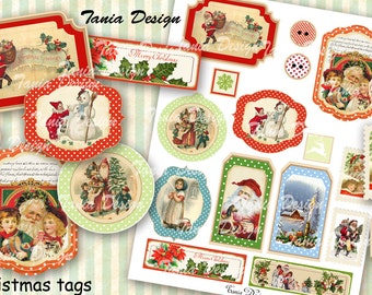 Christmas Tags - digital collage sheet - set of 15 tags- Printable - Download - Scrapbooking - Greeting cards