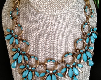 CLEARANCE // Circle Link Crystal Statement Necklace