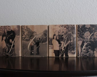 LOVE Wood Photo Blocks Personalized