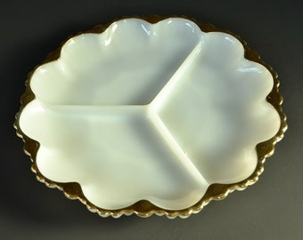 White Relish Tray from Fire King