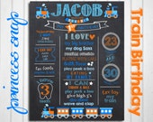Train First Birthday Chalkboard - Orange and Blue Train 1st Birthday CUSTOMIZED Poster Printable File