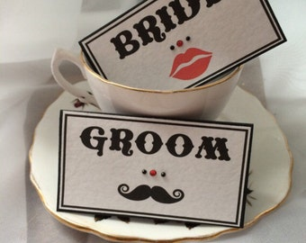Lips moustache carnival insprided place name cards wedding decoration