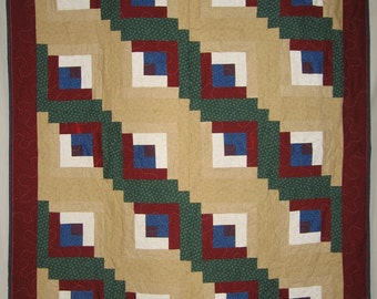 Winter Theme Log Cabin Throw Quilt Blue And White