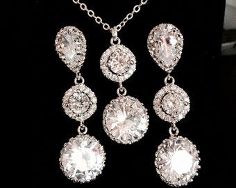 925 sterling silver Bridal Earrings, Cubic Zirconia Ear Posts, Cubic Zirconia Crystal Tear Droop Bridal earrings,crystal tear drop earrings