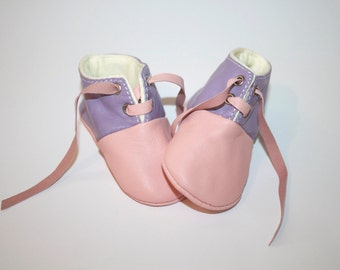 SALES 12-18 Months Slippers / Baby Shoes Lamb Leather pastel pink purple