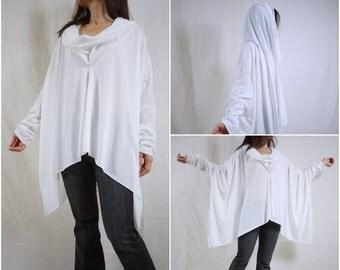 Longsleeve Cowl Neck White Cotton Mix Polyester Jersey Blouse Women Top With Asymmetrical Hem- TN010