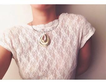Golden Drop Wire Vintage Necklace