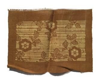 Japanese Katazome Textile in Kakishibu Dye (#15020702)