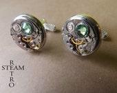 10% off sale16  Steampunk Peridot green Cufflinks- Men Jewelry by Steamretro, Men cufflinks -personalized jewelry