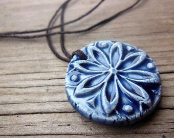 Denim Blue Rustic Textured Essential Oil Diffuser Necklace, Round Natural Medicine Ceramic Pendant, Bohemian Aromatherapy Night Sky Jewelry