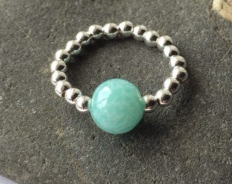 Silver and Aqua Balls Ring